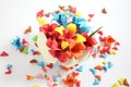 Origami flower colourful paper flowers in a paper made box Royalty Free Stock Photography