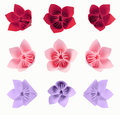 Origami flowers from color paper isolated on white background Royalty Free Stock Images