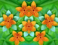 Origami flowers orange on green background Stock Photos