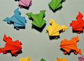 Origami frogs Royalty Free Stock Photo