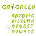 Origami Green Eco Font. Alphabet Letters