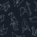Origami hand drawn doodle seamless pattern. Vector illustration of figures from paper