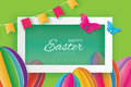 Origami Happy Easter. Colorful Paper cut Easter Egg, flag, butterfly. Rectangle frame. Green background Royalty Free Stock Photo