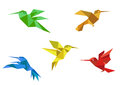 Origami hummingbirds set Royalty Free Stock Photos