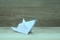 Origami mouse on wooden background Royalty Free Stock Photo