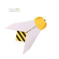 Origami paper bee on a white background Stock Photos