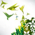 Origami paper bird on abstract background this is file of eps format Royalty Free Stock Photo