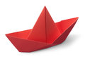 Origami paper boat red isolated on white background Stock Photo