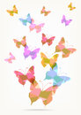 Origami paper butterflies silhouettes