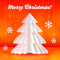 Origami paper christmas tree on orange background vector Stock Photography