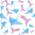 Origami Paper Crane Background Pattern. Vector