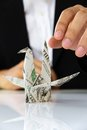 Origami paper cranes money concept Royalty Free Stock Image