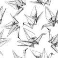 Origami paper cranes set sketch seamless pattern. black line