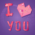 Origami paper floral love card with text and heart Royalty Free Stock Image