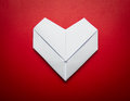 Origami paper heart shape symbol for Valentines day Royalty Free Stock Photos