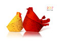 Origami paper hen and rooster Royalty Free Stock Photo