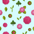 Origami paper pink rose set Royalty Free Stock Photo