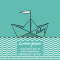 Origami paper ship Victory on sea waves vector illustration