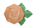 Origami paper yellow rose Royalty Free Stock Photo