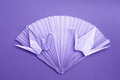 Origami photo card paper cranes fan stock photos purple decoration on dark violet background valentines day or wedding ornament Royalty Free Stock Photos