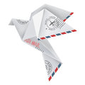 Origami pigeon in flying position with post stamps in white background vector illustration Royalty Free Stock Images