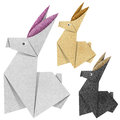 Origami rabbit Recycled Papercraft Stock Images