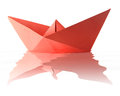 Origami red boat Stock Image