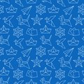 Origami seamless pattern with flat line icons. Paper cranes, bird, boat, plane vector illustrations. Background blue