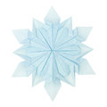 Origami snowflake paper fragility christmas winter cold blue on a white background Royalty Free Stock Image