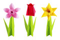 Origami spring flowers set white background Stock Photography