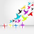 Origami start to fly from gift boxes Royalty Free Stock Images