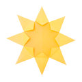 Origami sun hot summer yellow paper on a white background Stock Photography