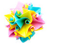 Origami twirl qusudama kusudama sphere colored paper on white wallpaper copy space Royalty Free Stock Image