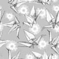 Origami white paper cranes set sketch seamless pattern. gray line Nature oriental background with japanese Sakura flowers pastel c