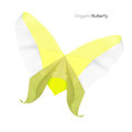 Origami yellow butterfly paper lemony isolated on a white background Stock Photos