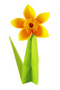 Origami yellow flower paper white background Royalty Free Stock Photo