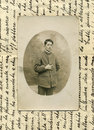 Original 1918 antique photo-military man Royalty Free Stock Photography