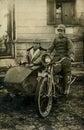 Original 1919 antique photo-men on bike Royalty Free Stock Photography