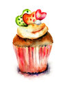 Original cake watercolor illustration of Stock Photography