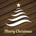 Original christmas tree from waves on wood Stock Photography