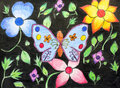 Original drawing of beautiful butterfly and flower Stock Image