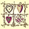 Original drawing doodle hearts template frame design for love card with set of lace heart Stock Photography