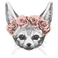 Original drawing of Fennec Fox with roses.