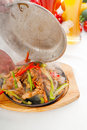 Original fajita sizzling hot  on iron plate Royalty Free Stock Photos