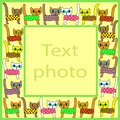 Original frame for photos and text. Picture of pretty colorful kittens. The frame is suitable for gift for both adults and