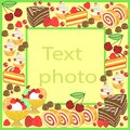 Original frame for photos and text. Sweet cakes create a festive mood. A perfect gift for children and adults. Vector illustration