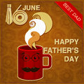 Original greeting card for fathers day red mug with a mustache Royalty Free Stock Photos