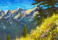 Original handmade oil painting, beautiful flowers on a mountain glade on canvas. Sunny mountains and blue sky. Palette knife artwo Royalty Free Stock Photo