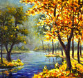Original handpainted Oil Painting sunny big autumn orange tree, Green Pine Tree on canvas - colorful trees, blue mountain river Royalty Free Stock Photo