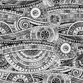 Original mosaic drawing tribal doddle ethnic pattern seamless background with geometric elements black and white version Royalty Free Stock Photo